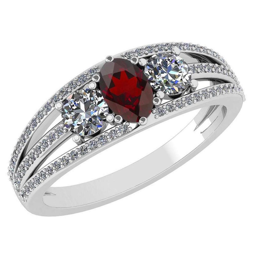 Certified 1.16 Ctw Garnet And Diamond 14k White Gold Halo Ring VS/SI1 #IRS99405