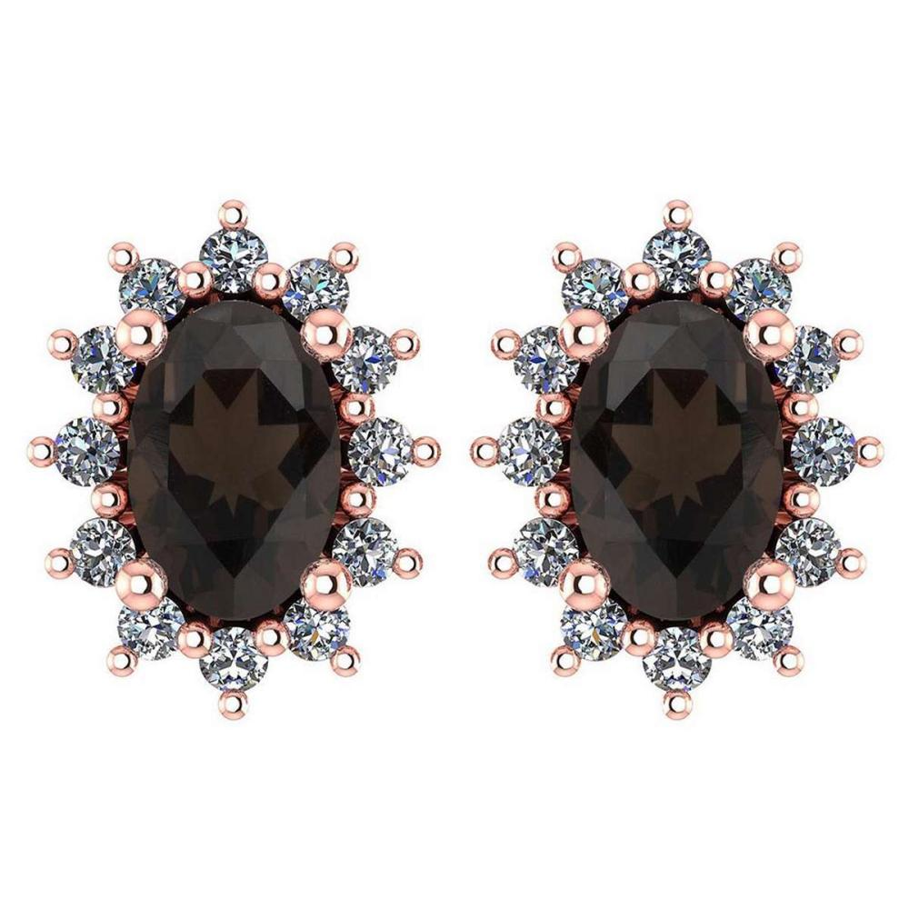 Certified 1.24 Ctw Smoky Quarzt And Diamond 14k Rose Gold Halo Stud Earrings #IRS99862