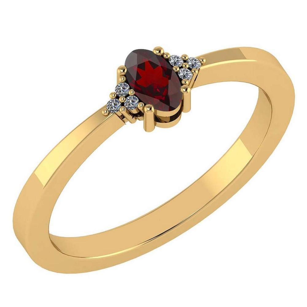Certified 0.24 CTW Garnet And Diamond 14k Yellow Gold Halo Ring #IRS98451
