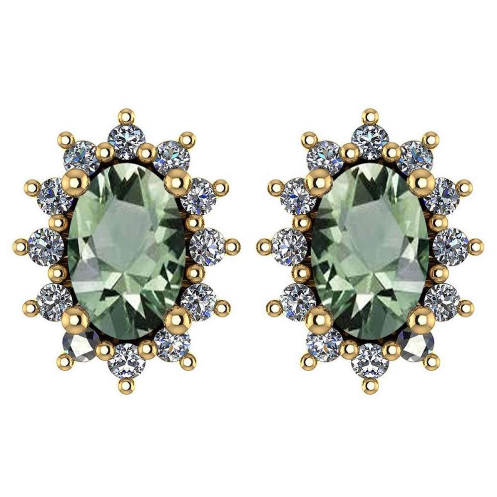 Certified 1.24 Ctw Green Amethyst And Diamond 14k Yellow Gold Halo Stud Earrings #IRS99838
