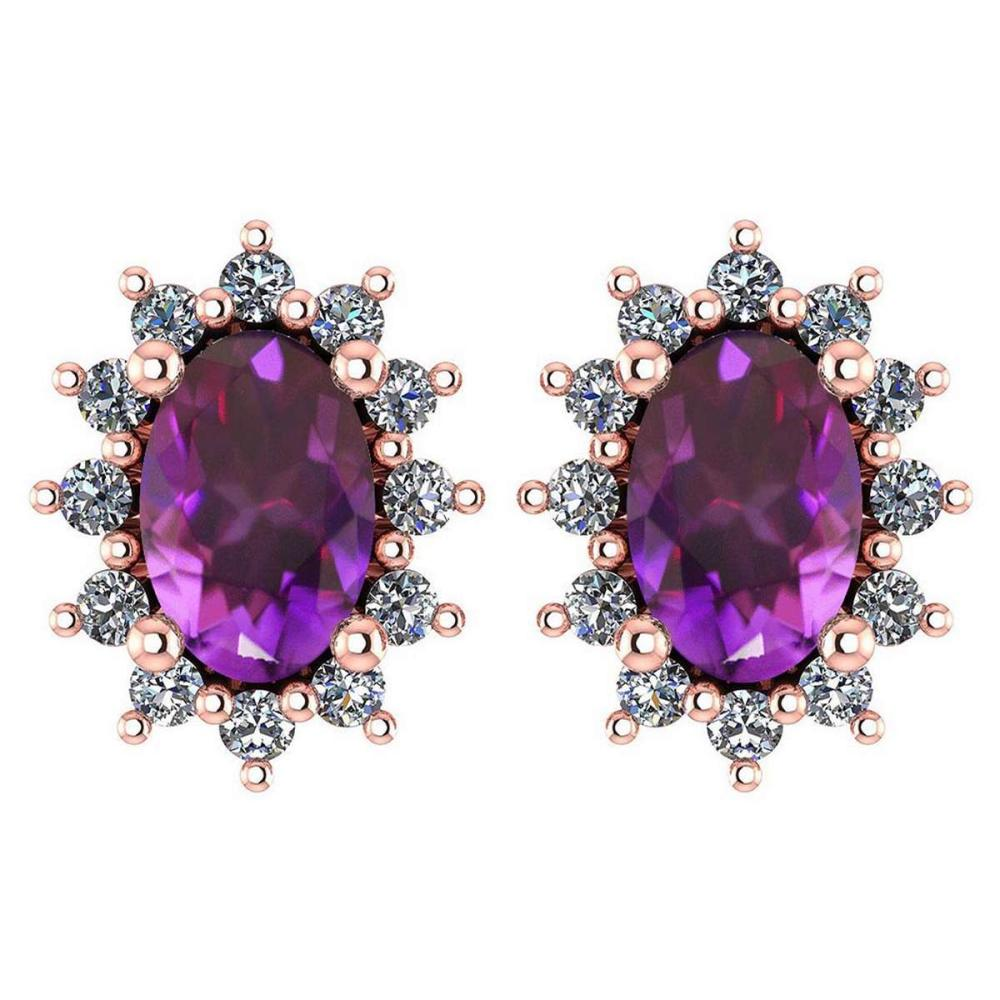 Certified 1.24 Ctw Amethyst And Diamond 14k Rose Gold Halo Stud Earrings #IRS99859