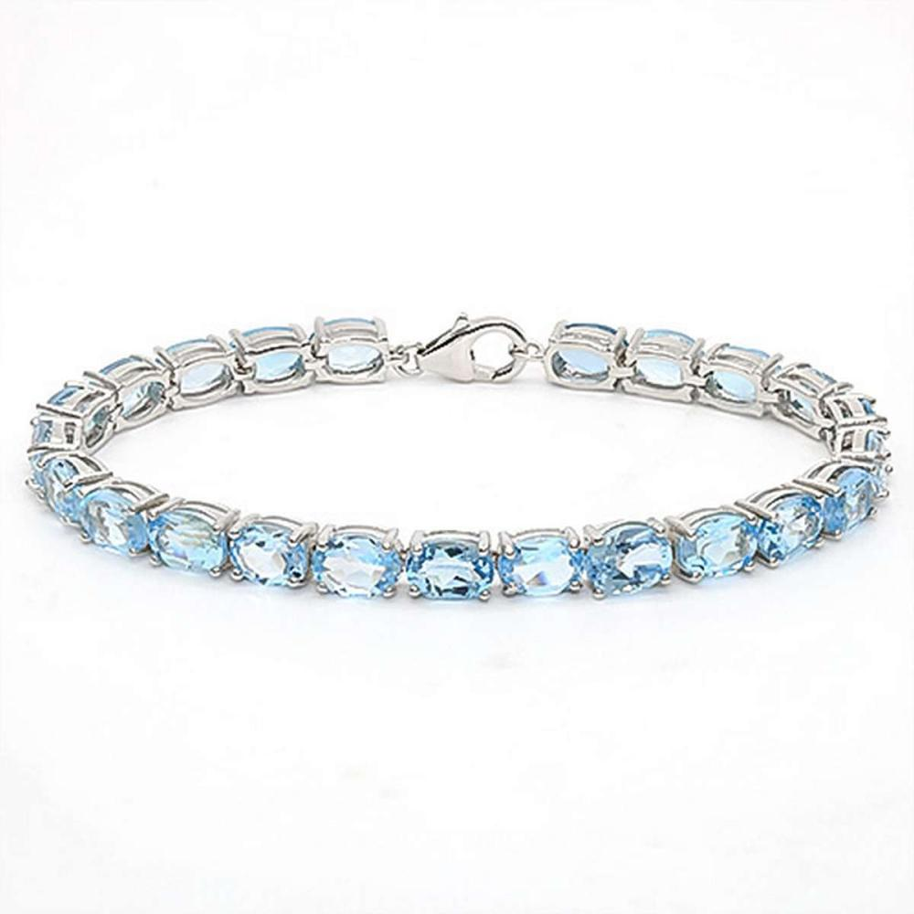 22.25 CT SKY BLUE TOPAZ 925 STERLING SILVER TENNIS BRACELET IN OVAL SHAPE #IRS50064