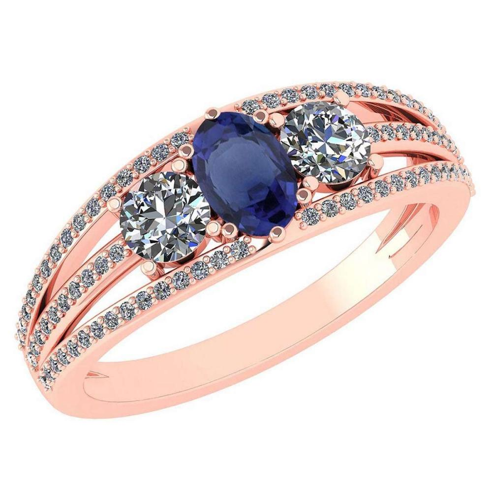 Certified 1.16 Ctw Blue Sapphire And Diamond 14k Rose Gold Halo Ring VS/SI1 #IRS99389