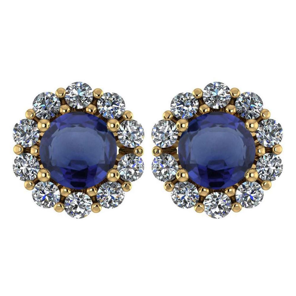 Certified 2.30 Ctw Blue Sapphire And Diamond 14k Yellow Gold Halo Stud Earrings #IRS97249