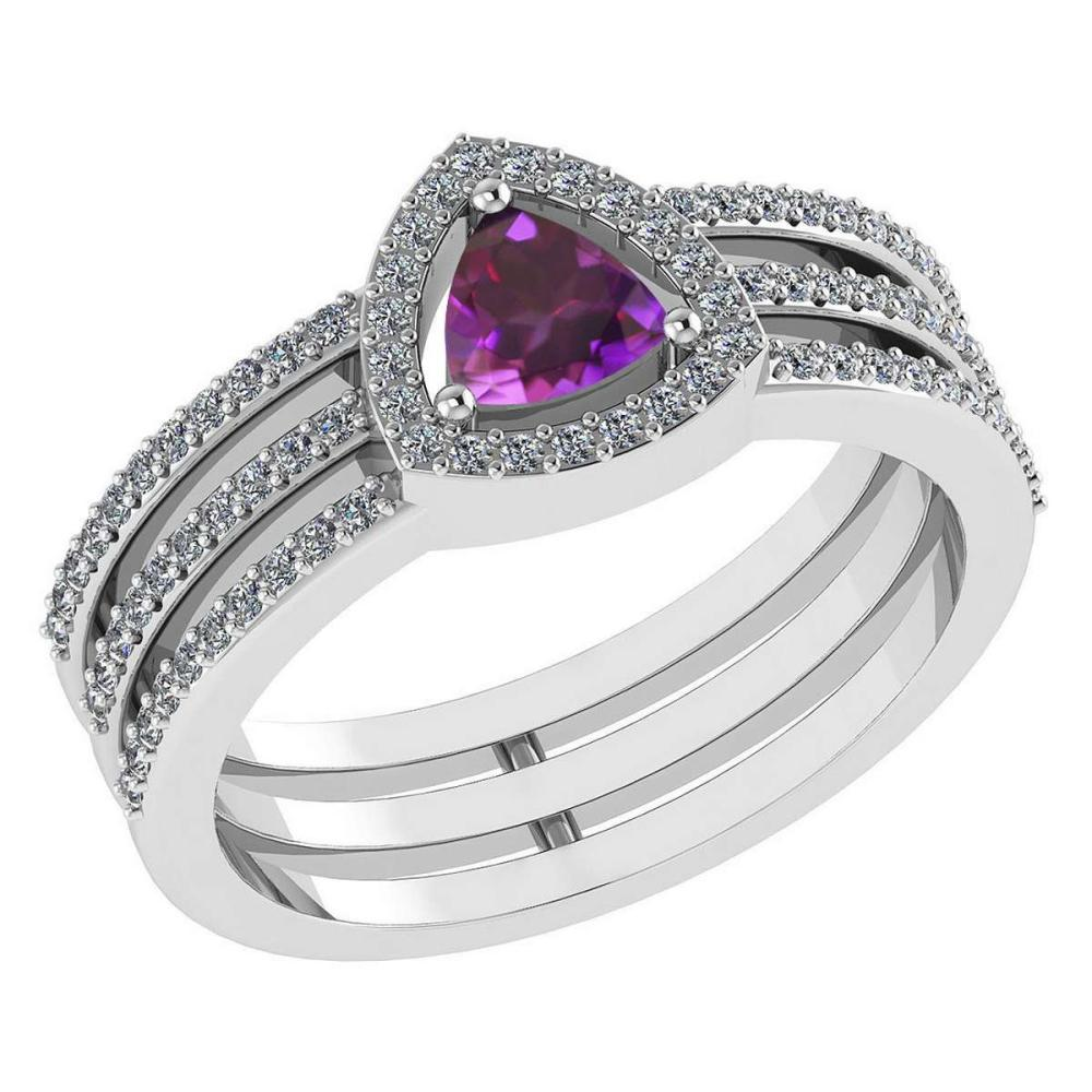 Certified 0.91 Ctw Amethyst And Diamond 14k White Gold Halo Anniversary Ring #IRS97329