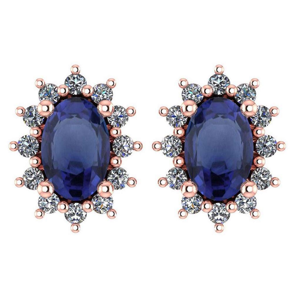 Certified 1.24 Ctw Blue Sapphire And Diamond 14k Rose Gold Halo Stud Earrings #IRS99852