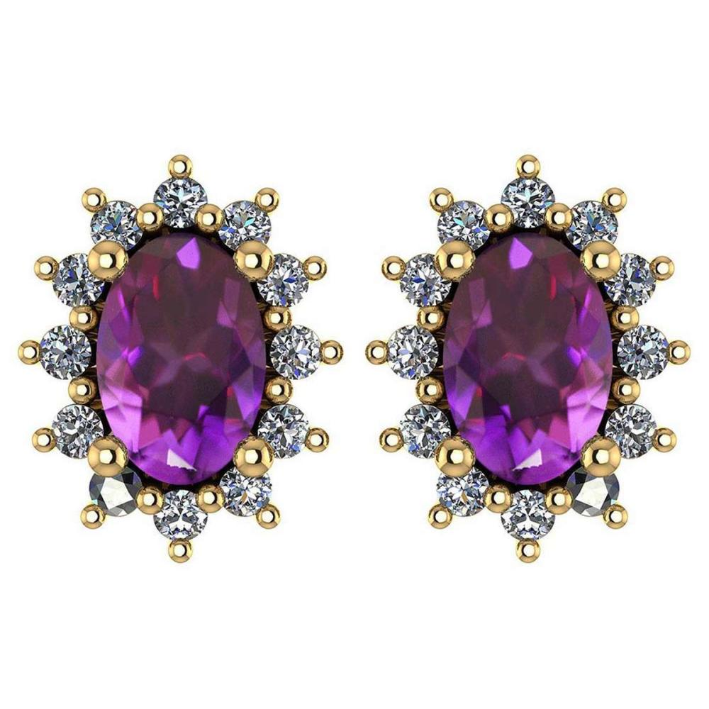 Certified 1.24 Ctw Amethyst And Diamond 14k Yellow Gold Halo Stud Earrings #IRS99837