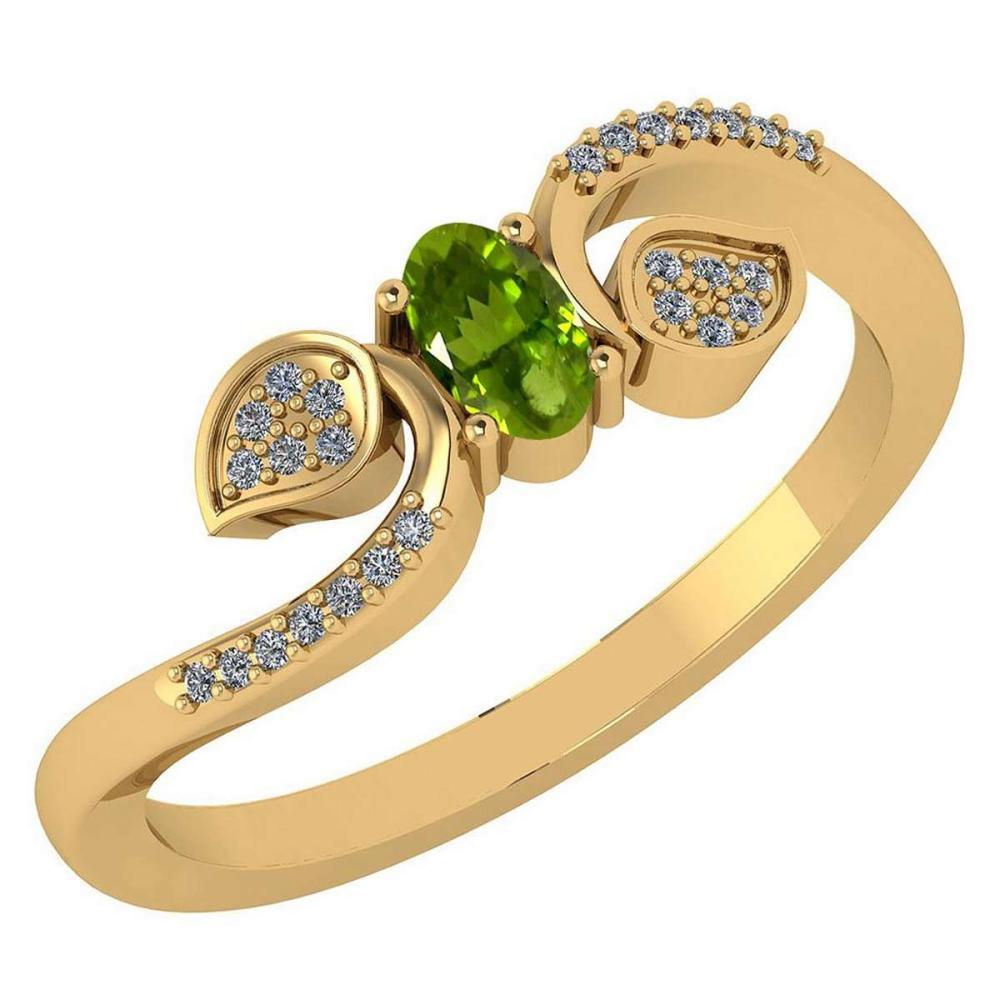 Certified 0.28 CTW Peridot And Diamond 14k Yellow Gold Halo Ring #IRS98651