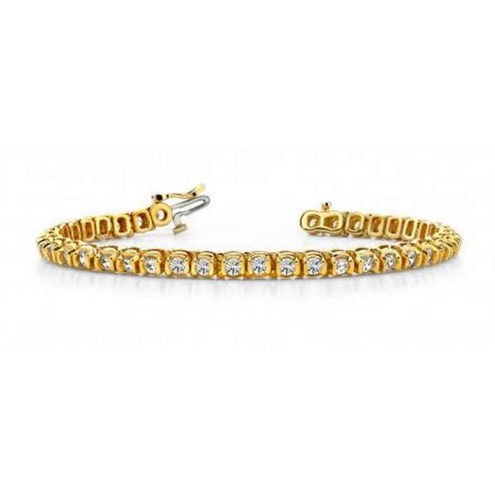 14K YELLOW GOLD 2.50 CTW G-H VS2/SI1 HALF BEZEL CIRCLE LINK DIAMOND TENNIS BRACELET #IRS19976