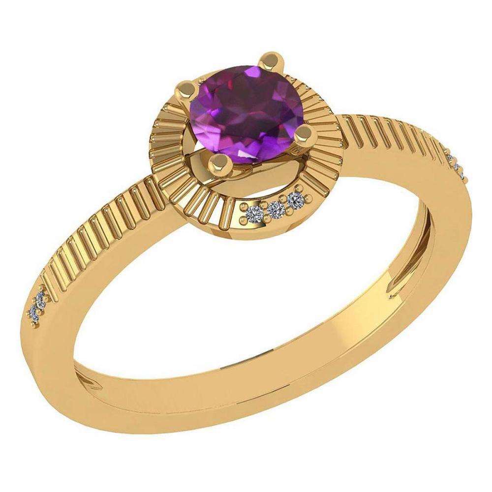 Certified 0.37 Ctw Amethyst And Diamond 14k Yellow Gold Halo Ring #IRS99344