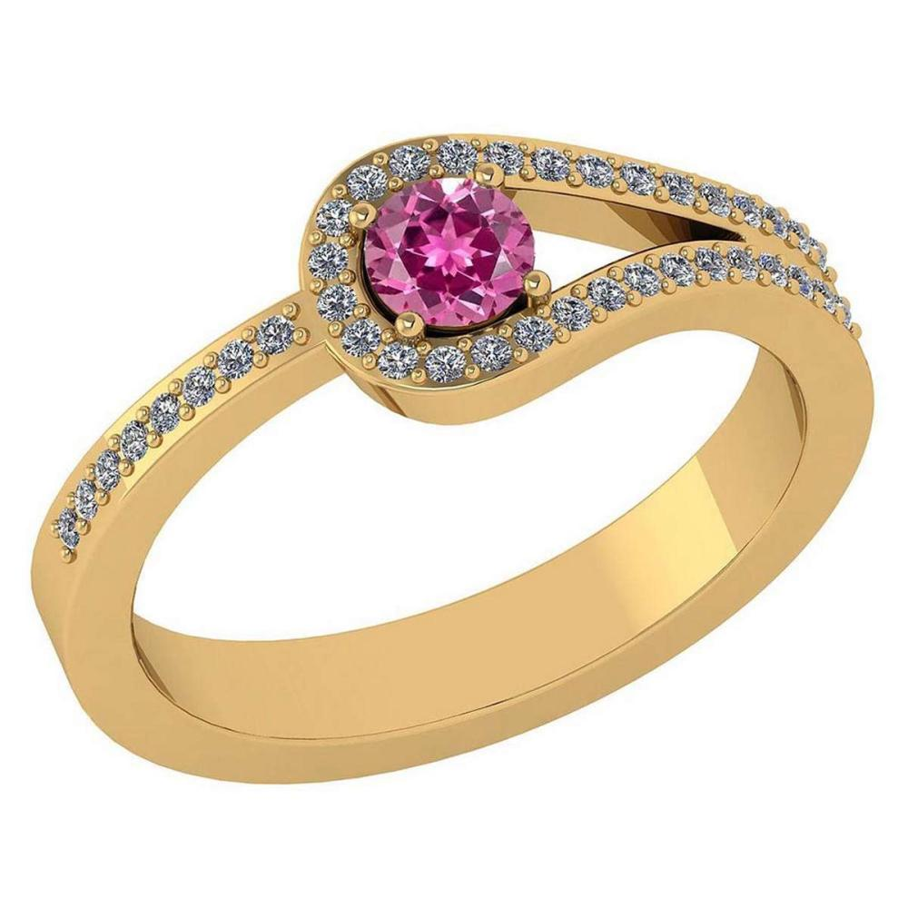 Certified 1.30 Ctw Pink Tourmaline And Diamond 14k Yellow Gold Halo Ring VS/SI1 #IRS99367