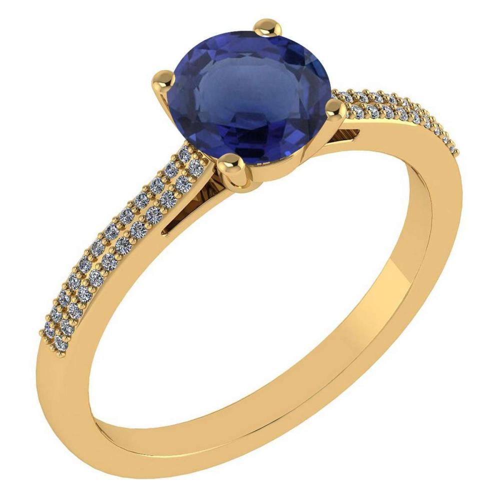 Certified 1.37 Ctw Blue Sapphire And Diamond 14k Yellow Gold Halo Ring #IRS97282