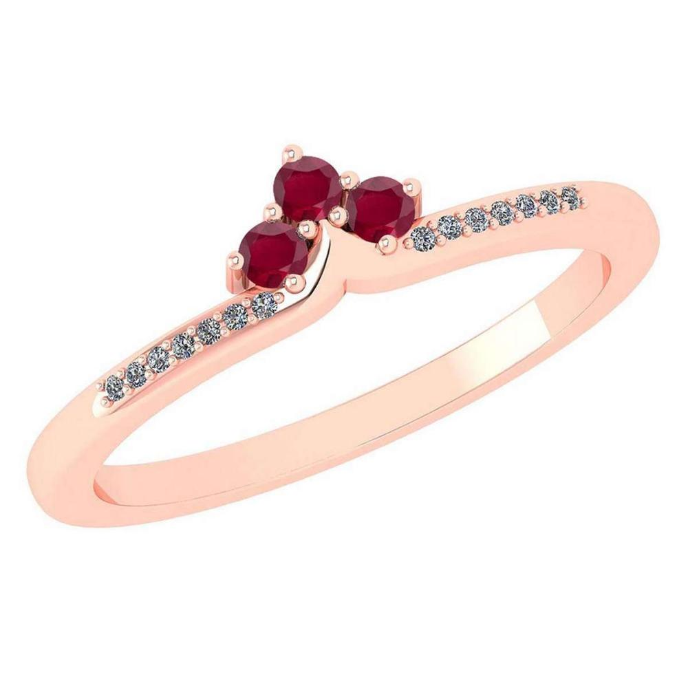 Certified 0.13 Ctw Ruby And Diamond 14k Rose Gold Halo Ring VS/SI1 #IRS99457