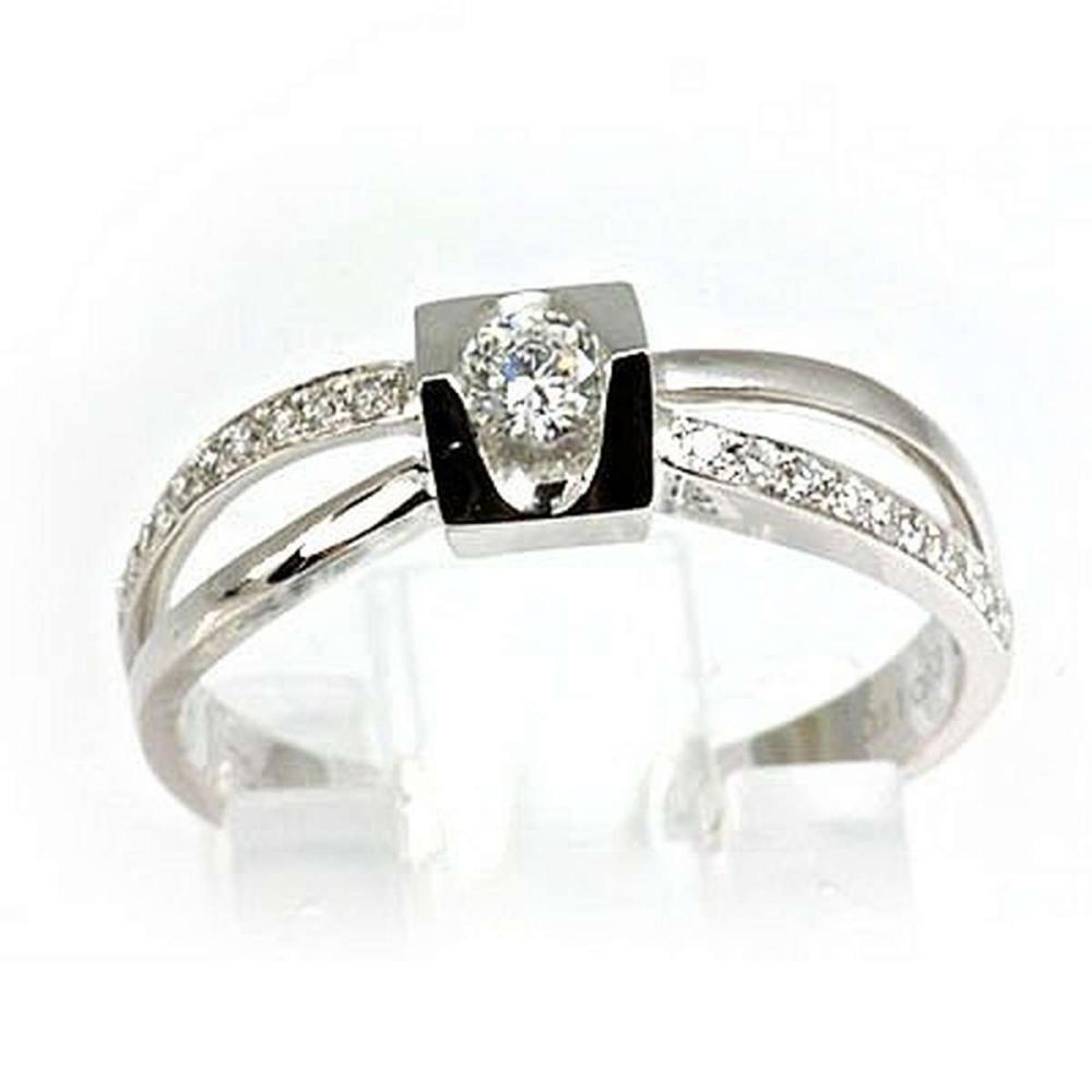 Genuine 0.11 ctw Diamond Ring 18kt Gold-White  #IRS33391