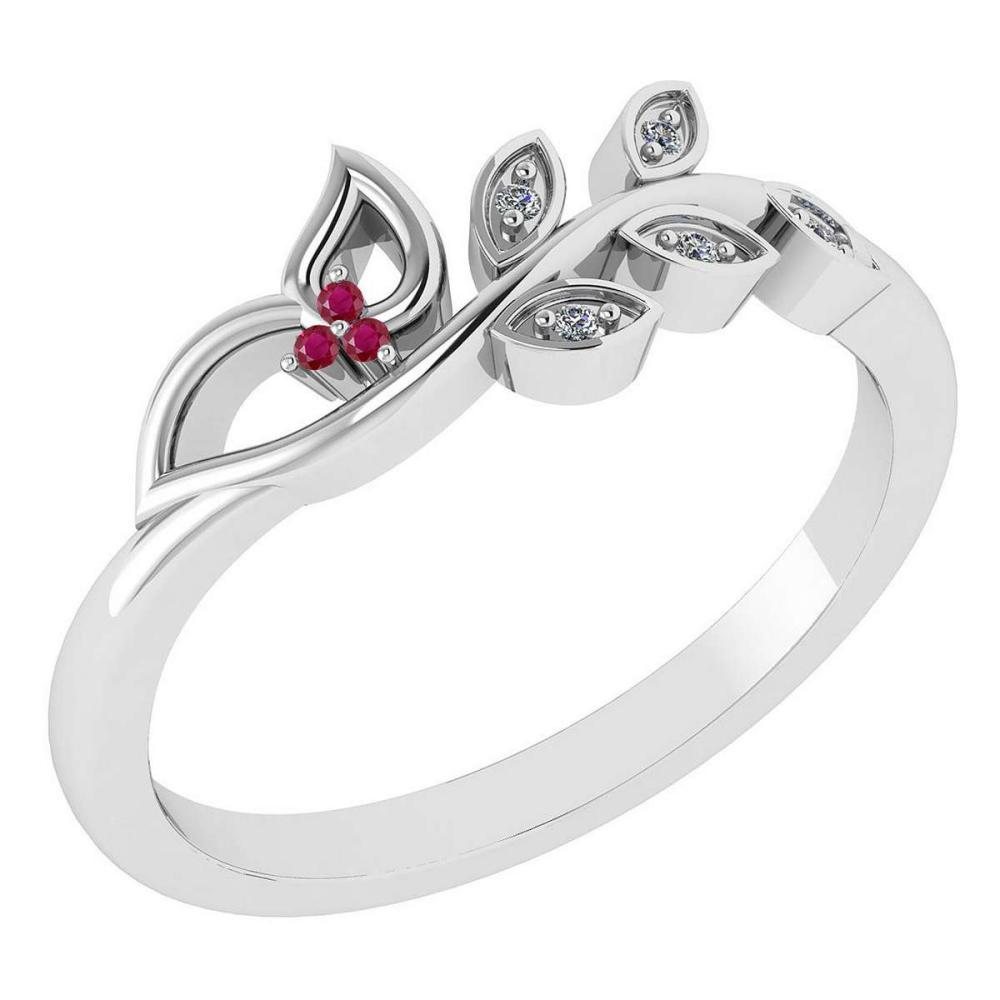 Certified 0.04 Ctw Ruby And Diamond 14k White Gold Anniversary Ring #IRS97379