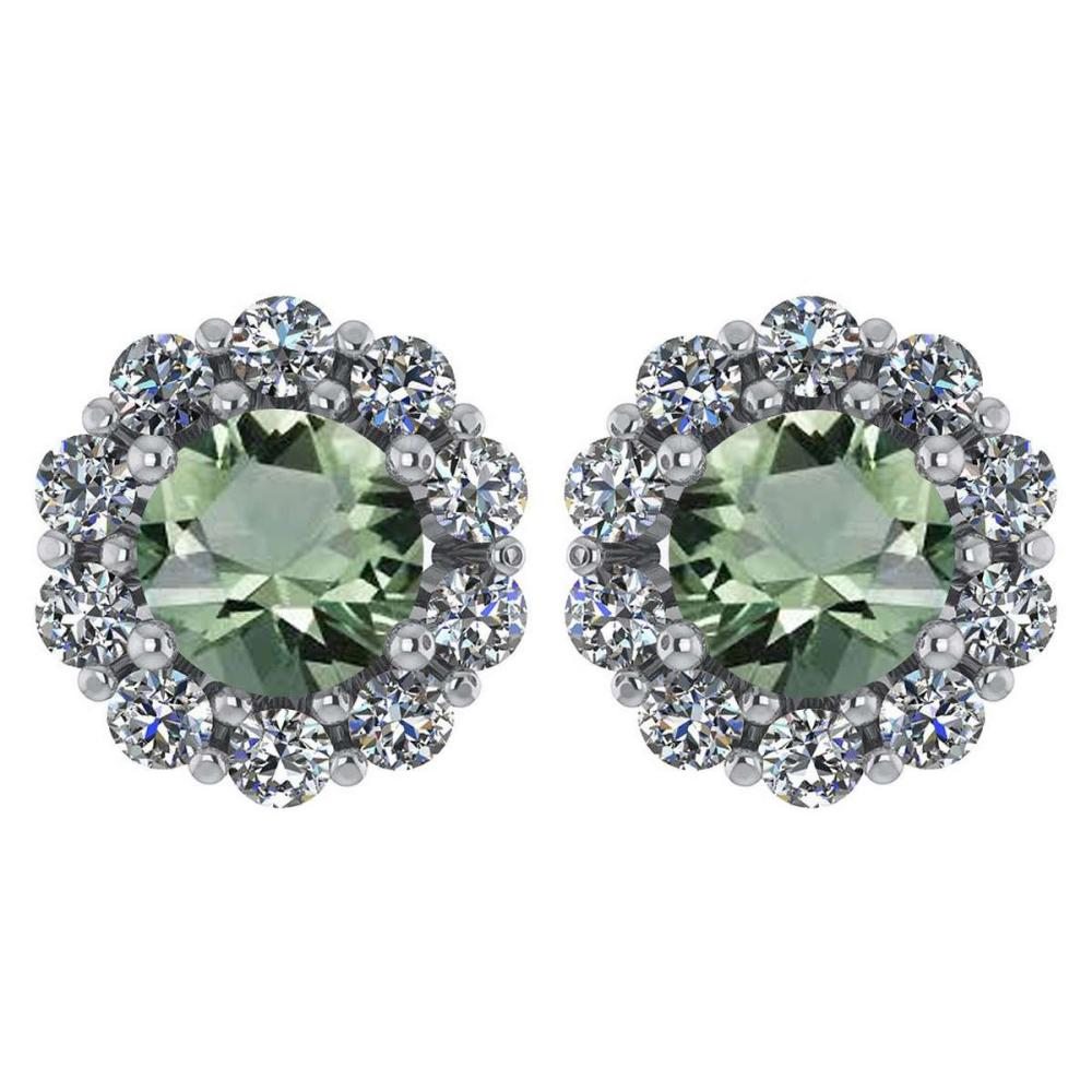 Certified 2.30 Ctw Green Amethyst And Diamond 14k White Gold Halo Stud Earrings #IRS97231