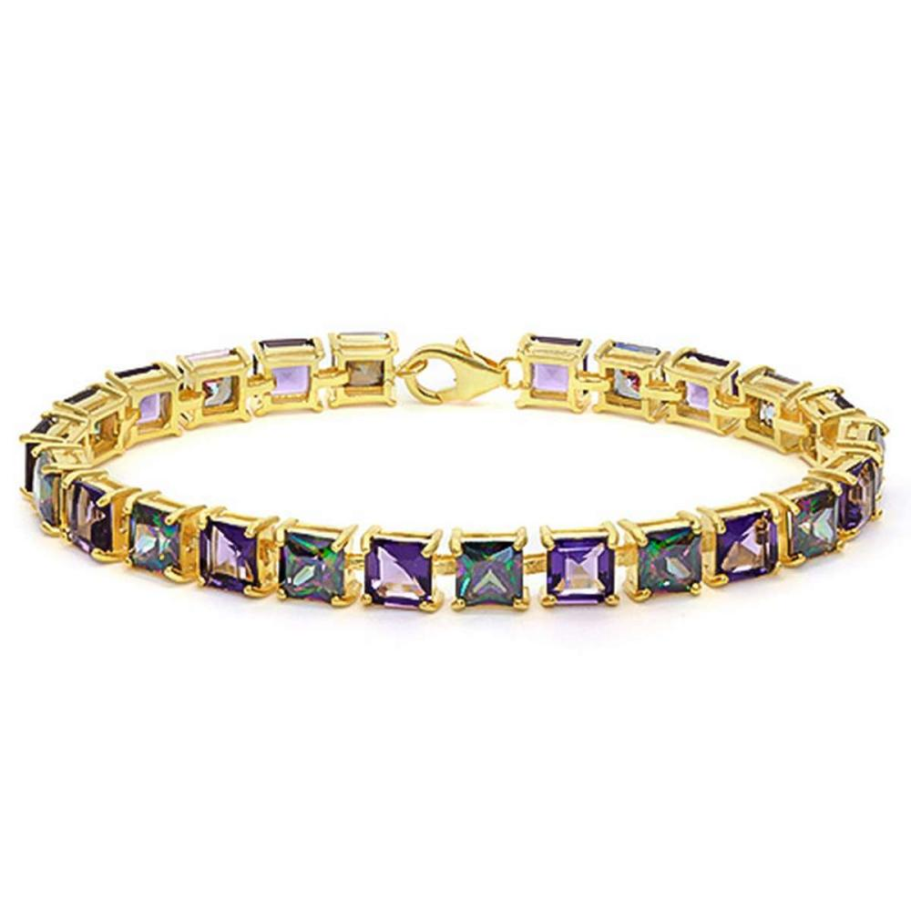 12.05 CT CREATED AMETHYST AND 12.05 CT CREATED MYSTICS 925 STERLING SILVER TENNIS BRACELET WITH GOLD PLATED IN SQUARE SHAPE #IRS50069