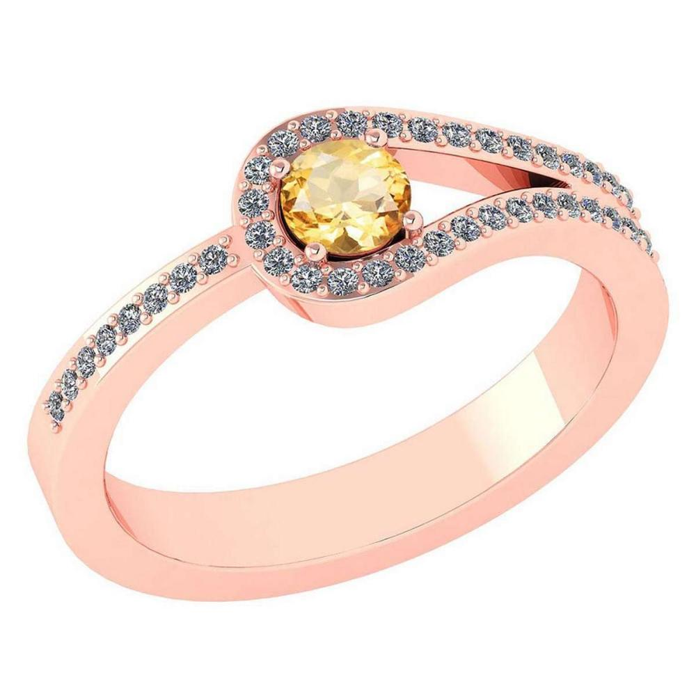 Certified 1.30 Ctw Citrine And Diamond 14k Rose Gold Halo Ring VS/SI1 #IRS99364