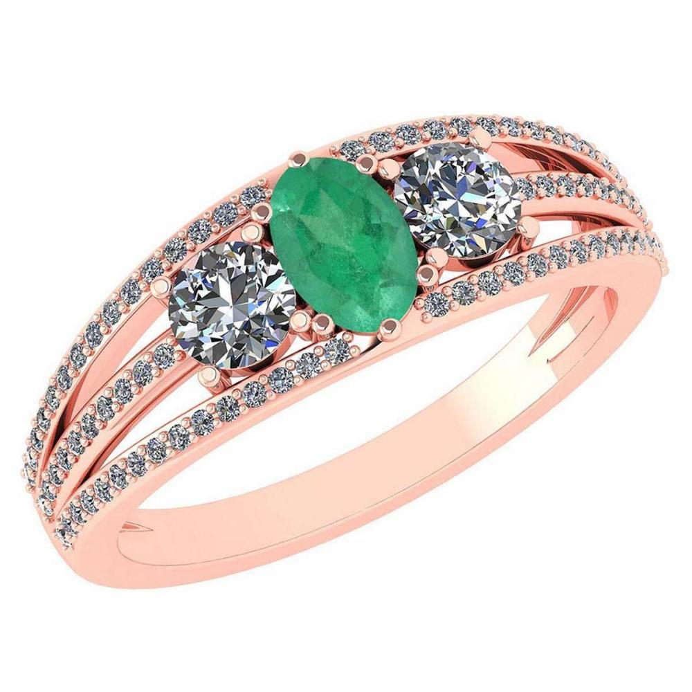 Certified 1.16 Ctw Emerlad And Diamond 14k Rose Gold Halo Ring VS/SI1 #IRS99392