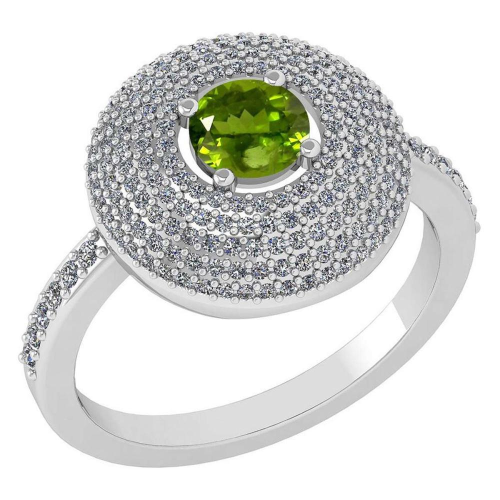 Certified 0.99 CTW Peridot And Diamond 14k White Gold Halo Ring #IRS98640