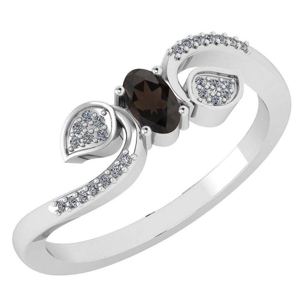 Certified 0.28 CTW Smoky Quarzt And Diamond 14k White Gold Halo Ring #IRS98676