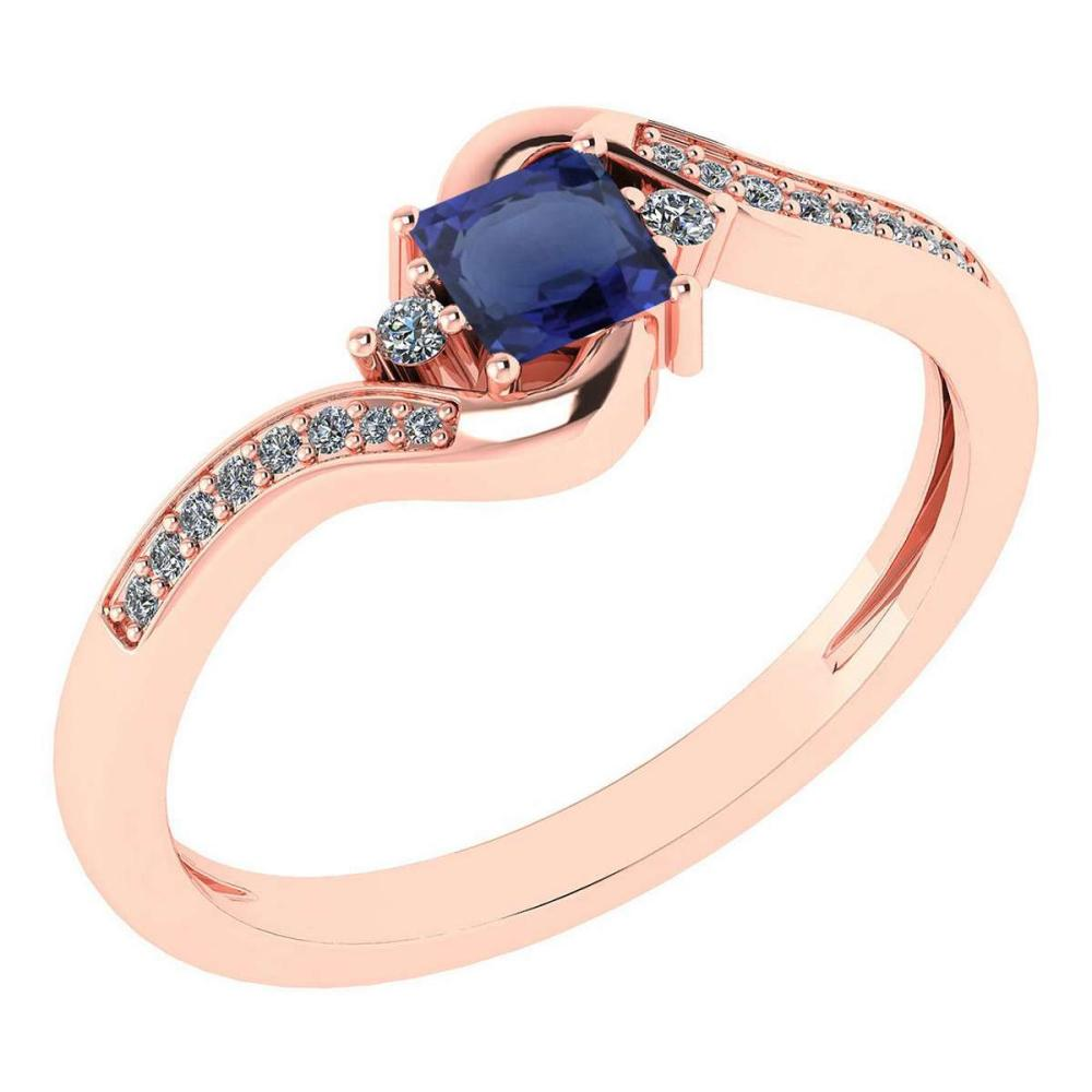 Certified 0.51 Ctw Blue Sapphire And Diamond 14k Rose Gold Halo Promise Ring #IRS97302