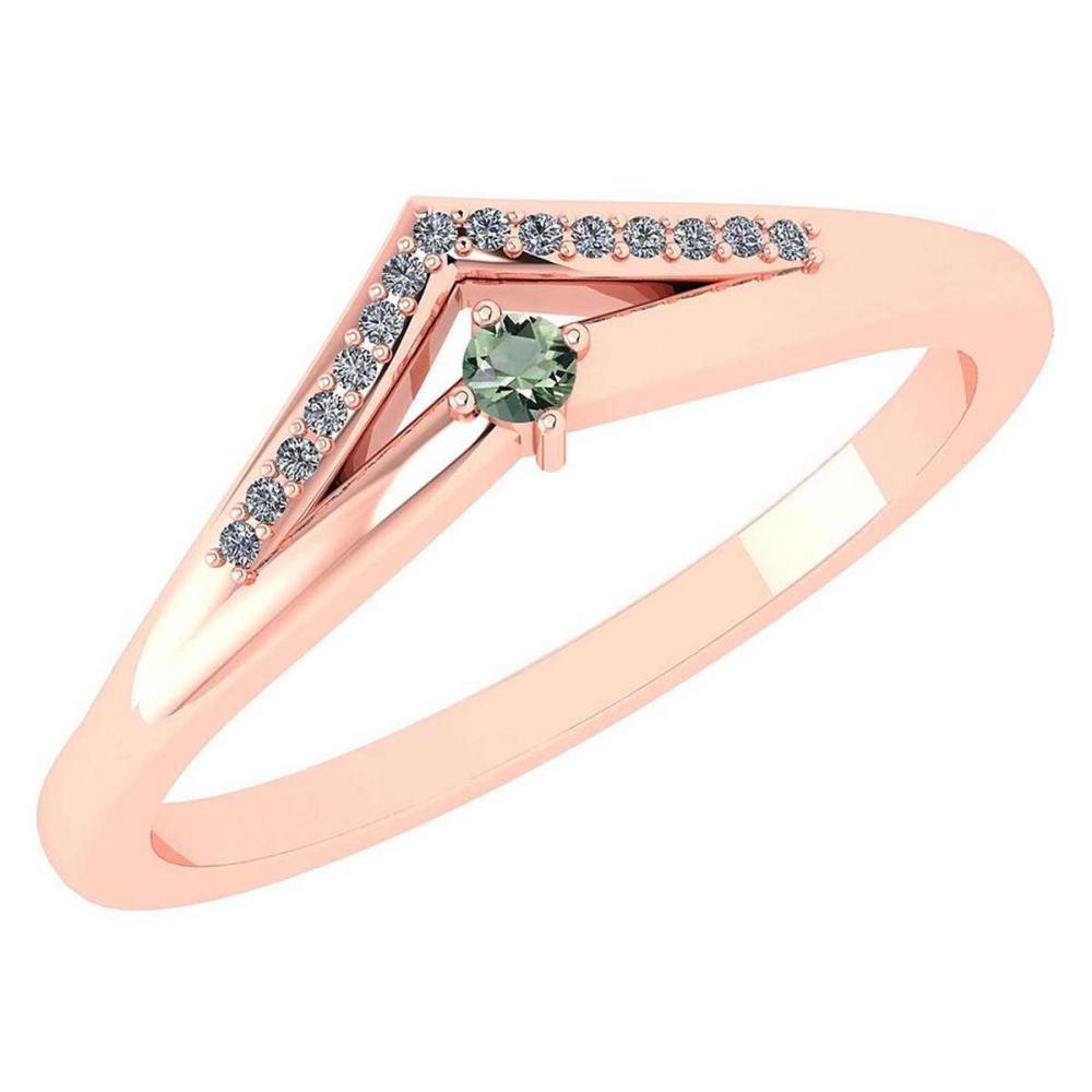 Certified 0.07 Ctw Green Amethyst And Diamond 14k Rose Gold Halo Ring VS/SI1 #IRS99814