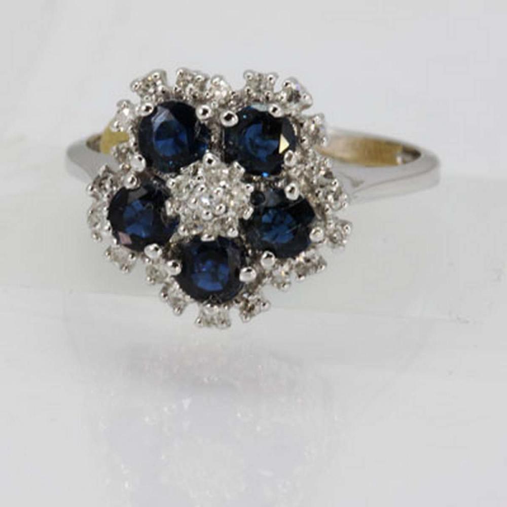 Genuine 1.42 ctw Sapphire & Diamond Ring 14K White Gold #IRS88020