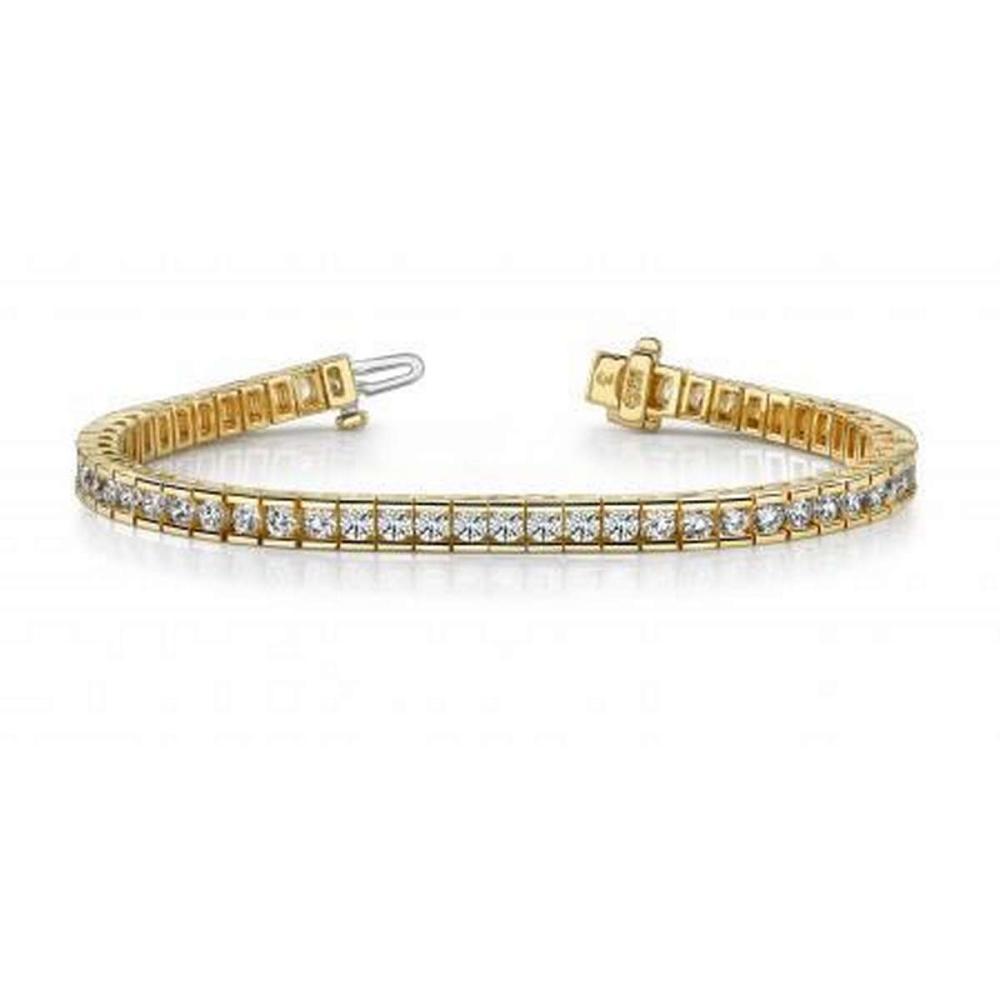 14K YELLOW GOLD 2.50 CTW G-H VS2/SI1 CLASSIC DIAMOND BOX TENNIS BRACELET #IRS19968