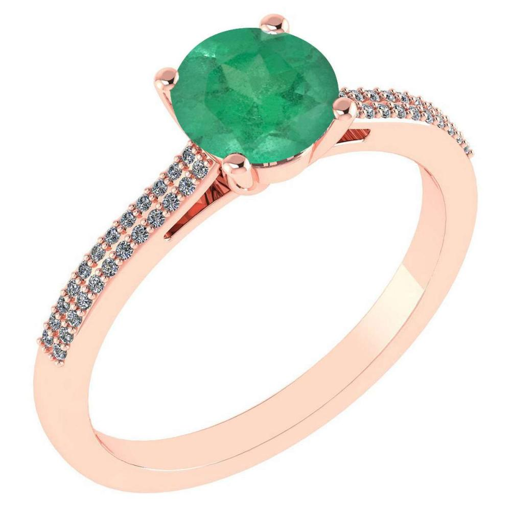 Certified 1.37 Ctw Emerald And Diamond 14k Rose Gold Halo Ring #IRS97272