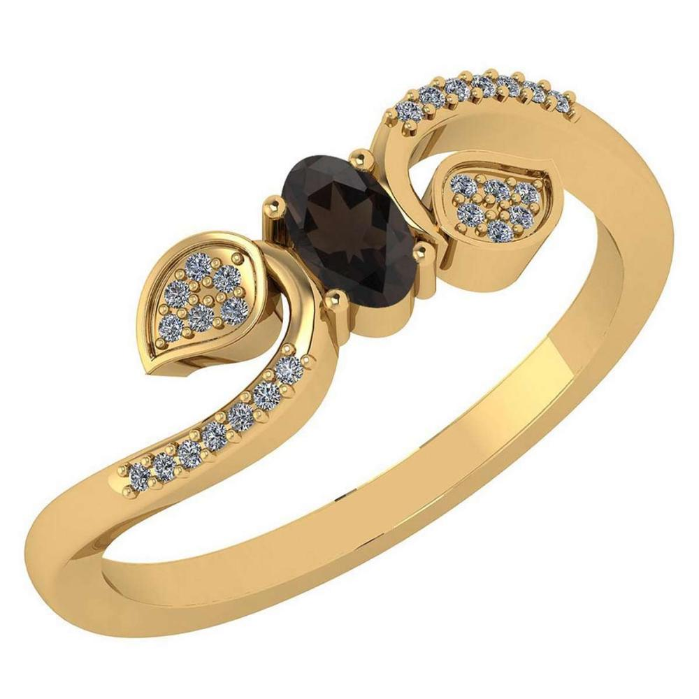 Certified 0.28 CTW Smoky Quarzt And Diamond 14k Yellow Gold Halo Ring #IRS98654