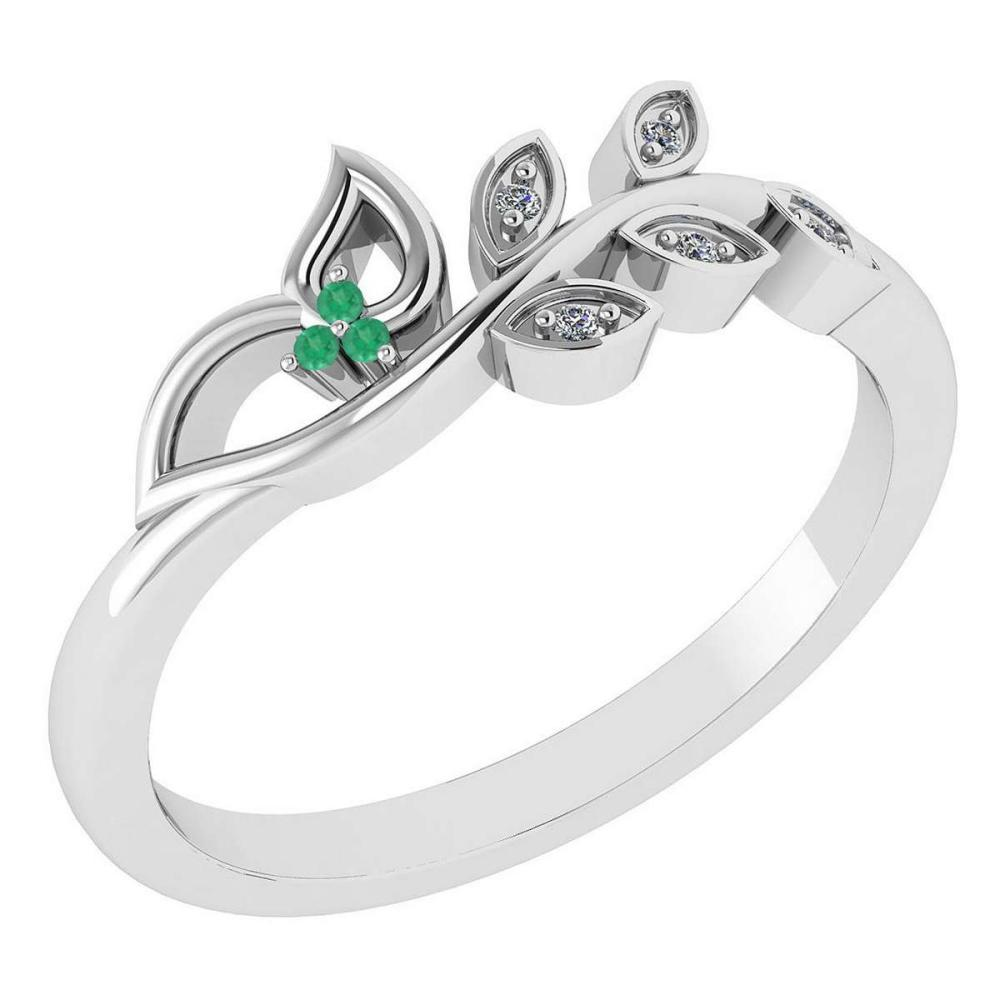 Certified 0.04 Ctw Emerald And Diamond 14k White Gold Anniversary Ring #IRS97380