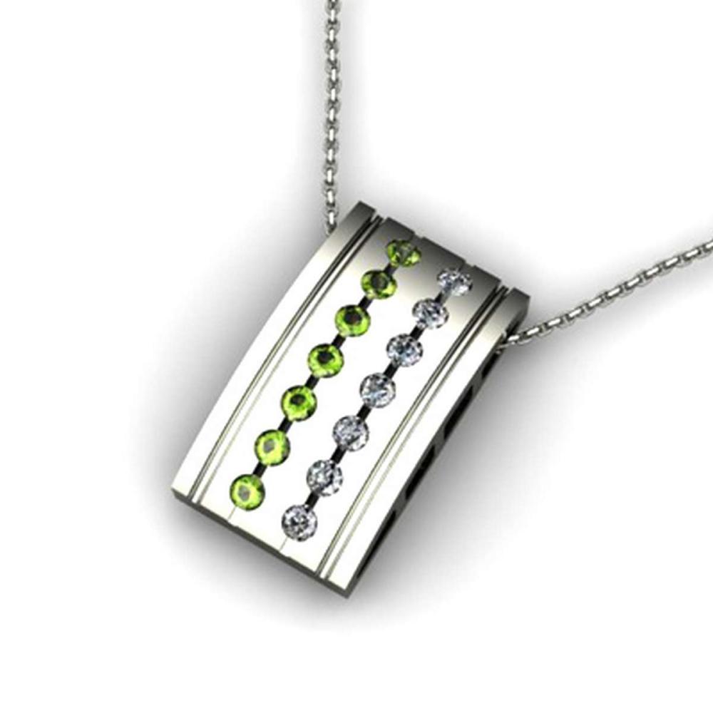 Genuine 0.57 ctw Peridot Diamond Pendant 14k #IRS12735