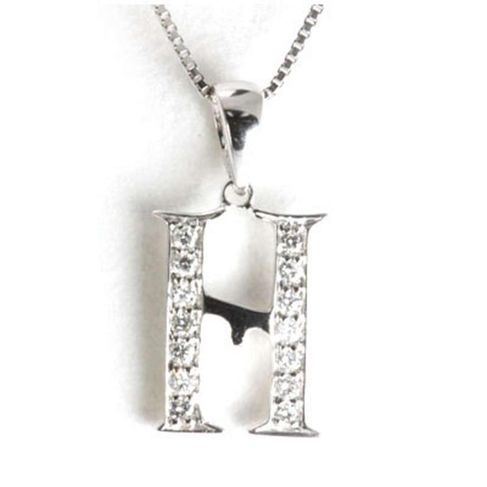 Genuine 0.14 ctw Letter H Diamond Necklace 16 14kt #IRS33340
