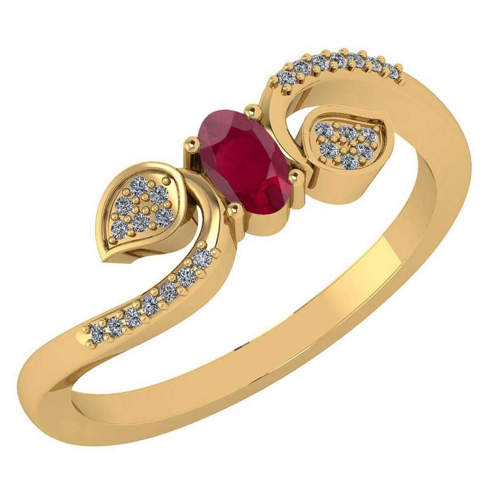 Certified 0.28 CTW Ruby And Diamond 14k Yellow Gold Halo Ring #IRS98646