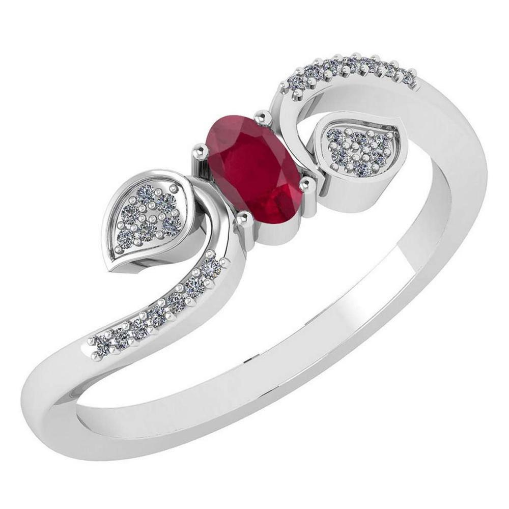 Certified 0.28 CTW Ruby And Diamond 14k White Gold Halo Ring #IRS98668