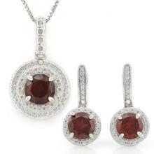 3 CARAT GARNETS & GENUINE DIAMONDS 925 STERLING SILVER LEVER BACK JEWELRY SET #IRS88767