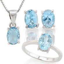 4 CARAT BABY SWISS BLUE TOPAZ 925 STERLING SILVER SET #IRS88795