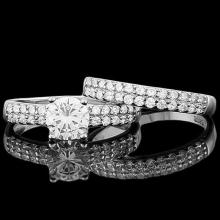 1 4/5 CARAT (53 PCS) FLAWLESS CREATED DIAMOND 925 STERLING SILVER HALO RING #IRS74633