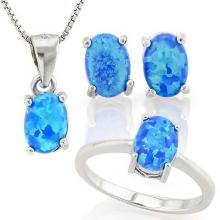 2 CARAT CREATED BLUE FIRE OPAL 925 STERLING SILVER SET #IRS88791