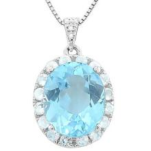 BABY SWISS BLUE TOPAZ & 11 1/5 CARAT (16 PCS) WHITE TOPAZ 925 STERLING SILVER PENDANT #IRS88756