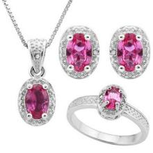 2.00 CT CREATED PINK SAPPHIRE & 5PCS GENUINE DIAMOND PLATINUM OVER 0.925 STERLING SILVER SET #IRS88776