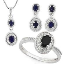 1 4/5 CARAT (7 PCS) SAPPHIRE 925 STERLING SILVER SET #IRS88781