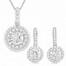 4 CARAT CREATED WHITE SAPPHIRES & GENUINE DIAMONDS 925 STERLING SILVER #IRS88764