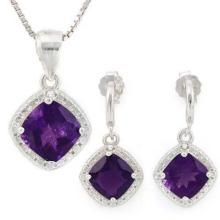 2 3/4 CARAT AMETHYSTS & GENUINE DIAMONDS 925 STERLING SILVER #IRS88789