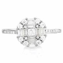 1 4/5 CARAT (25 PCS) FLAWLESS CREATED DIAMOND 925 STERLING SILVER HALO RING #IRS74650