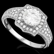 1 3/5 CARAT (41 PCS) FLAWLESS CREATED DIAMOND 925 STERLING SILVER HALO RING #IRS74693
