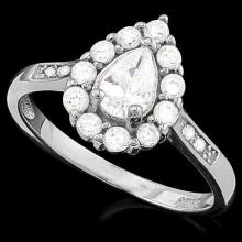 2 CARAT (17 PCS) FLAWLESS CREATED DIAMOND 925 STERLING SILVER HALO RING #IRS74625