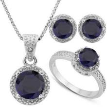 4.856 CARAT TW DYED GENUINE SAPPHIRE & GENUINE DIAMOND PLATINUM OVER 0.925 STERLING SILVER SET #IRS88780