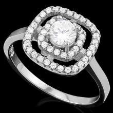 1 CARAT (45 PCS) FLAWLESS CREATED DIAMOND 925 STERLING SILVER HALO RING #IRS74671